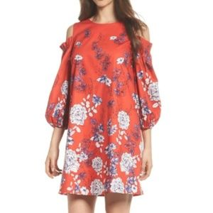 Maggy London Floral Shirt Should Cut Out Red Blue